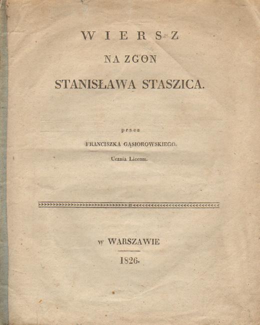 Wiersz Na Zgon Stanisława Staszica
